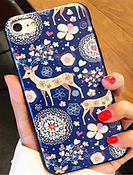 baratos -Capinha Para Apple iPhone 6 Plus iPhone 7 Plus Estampada Com Relevo Capa traseira Pintura Macia TPU para iPhone 7 Plus iPhone 7 iPhone 6s