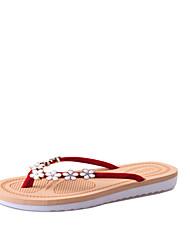 cheap -Women's Shoes PU Summer Comfort Slippers & Flip-Flops Flat Heel for Outdoor Black Red Green Pink