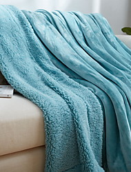 cheap -Coral fleece, Quilted Solid Colored Cotton/Polyester Polyester Blankets