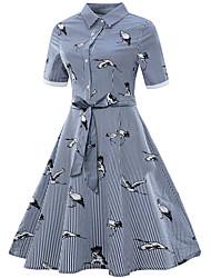 cheap -Women's Plus Size Sophisticated Slim Sheath Dress - Striped, Print Shirt Collar