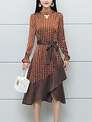 cheap -Women's Plus Size Boho Chiffon Dress - Polka Dot Striped, Ruffle Print Crew Neck