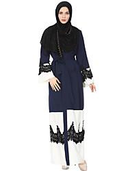 abordables -Femme Ample Kaftan Abaya Robe - Dentelle, Couleur Pleine Col en V Maxi