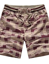 abordables -Hombre Deportivo Tallas Grandes Algodón Delgado Shorts Chinos Pantalones - Cuadrícula Estampado
