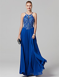 cheap -A-Line Princess Spaghetti Straps Floor Length Chiffon Graduation / Cocktail Party / Prom / Black Tie Gala / Holiday Dress with Beading by