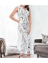 cheap -Women's Slim Jumpsuit - Solid, Basic High Waist Wide Leg V Neck