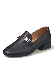 女性用 靴 PUレザー 春 夏 コンフォートシューズ ヒール チャンキーヒール スクエアトゥ のために カジュアル ブラック ベージュ