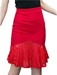 cheap -Women's Work Sophisticated Plus Size Bodycon A Line Skirts - Solid Colored, Lace