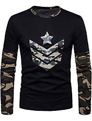 abordables -Hombre Chic de Calle Algodón Camiseta,Escote Redondo Delgado camuflaje