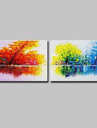 billige -Hang-Painted Oliemaleri Hånd malede - Abstrakt Landskab Moderne Lærred