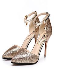 abordables -Mujer Zapatos PU Verano Suelas con luz Sandalias Paseo Tacón Cuadrado Puntera abierta Dorado / Negro / Plata