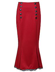 cheap -Women's Going out Plus Size Cotton Bodycon Skirts - Solid Colored Split High Waist
