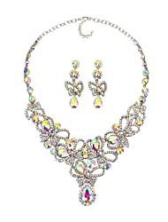 abordables -Femme Saphir synthétique / Strass Fleur Ensemble de bijoux 1 Collier / Boucles d'oreille - Classique / Large / Mode Argent / Arc-en-ciel