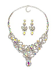 cheap -Women's Synthetic Sapphire / Rhinestone Flower Jewelry Set 1 Necklace / Earrings - Classic / Statement / Fashion Silver / Rainbow Drop