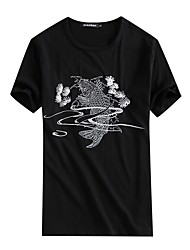 cheap -Men's Chinoiserie Cotton Slim T-shirt - Animal, Embroidered Round Neck