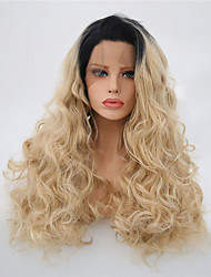 cheap -Synthetic Lace Front Wig Wavy Blonde Synthetic Hair Ombre Hair Blonde Wig Women's Long Lace Front Black / Strawberry Blonde