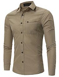 economico -Camicia Per uomo Lavoro Monocolore Colletto classico