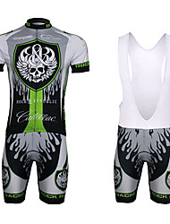 cheap -WEST BIKING® Men's Short Sleeves Cycling Jersey with Bib Shorts - Green+Gray Skull Bike Bib Shorts Bib Tights Jersey Clothing Suits, 3D