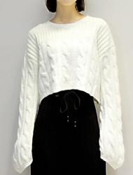 preiswerte -Damen Langarm Pullover-Volltonfarbe