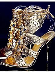 preiswerte -Damen Schuhe Künstliche Mikrofaser Polyurethan Frühling Sommer Pumps Komfort Sandalen Stöckelabsatz für Normal Gold Silber