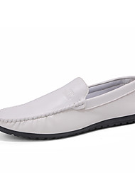 cheap -Men's Cowhide Spring / Fall Comfort Loafers & Slip-Ons Walking Shoes Conductive White / Black / Orange