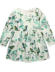 abordables -Robe Fille de Quotidien Vacances Fleur Jacquard Coton Acrylique Polyester Printemps Eté Manches Longues simple Rétro Blanc