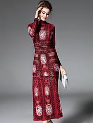 baratos -Mulheres Solto Vestido - Bordado, Floral Geométrica Gola Redonda Longo