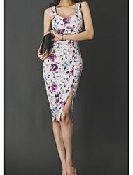 cheap -Women's Slim Bodycon Dress - Floral White High Waist Strap