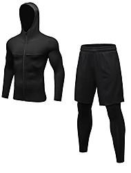 baratos -Homens activewear Set - Azul, Vermelho / Branco, Cinzento Esportes Sólido Leggings / Conjuntos de Roupas Fitness, Cooper Manga Longa / Pant Long Roupas Esportivas Respirabilidade Com Stretch