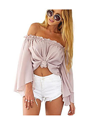 cheap -Women's Street chic Blouse - Solid Colored, Lace up One Shoulder