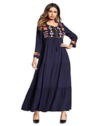 Недорогие -Жен. С летящей юбкой Платье - Цветочный принт Контрастных цветов, Классический Вышивка Макси