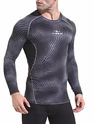 abordables -Homme Tee-shirt de Course Manches Longues Respirabilité Tee-shirt pour Exercice & Fitness Polyester Noir / Gris L / XL / XXL
