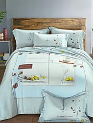 cheap -Duvet Cover Sets Geometric Pattern 4 Piece Poly/Cotton Reactive Print Poly/Cotton 1pc Duvet Cover 2pcs Shams 1pc Flat Sheet