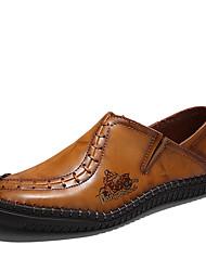 Недорогие -Муж. Кожа / Дерматин Весна / Лето Удобная обувь Мокасины и Свитер Для прогулок Черный / Желтый / Темно-коричневый