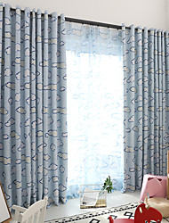cheap -Blackout Curtains Drapes Bedroom Floral Multi Color Polyester Blend Printed