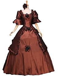 abordables -Conte de Fée Costume de père noël Renaissance Costume Femme Robes Costume Bal Masqué Costume de Soirée Tenue Marron Bleu Rouge Vintage
