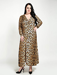 cheap -Women's Plus Size Club A Line Shift Sheath Dress - Leopard, Ruched Split Maxi V Neck
