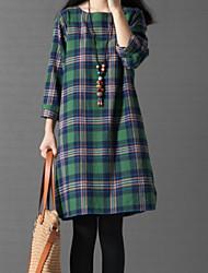 baratos -Mulheres Básico Solto Vestido Xadrez Altura dos Joelhos