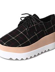 preiswerte -Damen Schuhe Stoff Frühling Komfort Outdoor Creepers Runde Zehe Schwarz / Beige / Kaffee