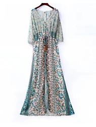 abordables -Femme Bohème Mousseline de Soie Robe - Basique, Géométrique Couleur Pleine Taille haute Col en V Maxi