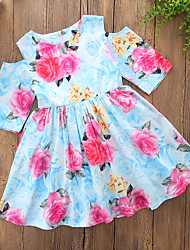 cheap -Girl's Daily Going out Floral Print Dress, Polyester Short Sleeves Cute Casual White Light Blue