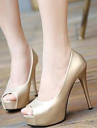 preiswerte -Damen Schuhe PU Frühling Sommer Pumps Komfort Sandalen Stöckelabsatz für Normal Gold Schwarz Silber