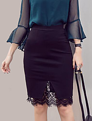 cheap -Women's Going out Street chic Plus Size Pencil Skirts - Color Block, Lace