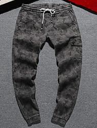 economico -pantaloni chino micro elasticizzati da uomo di media altezza, semplice molla in poliestere camouflage