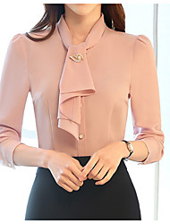 cheap -Women's Chic & Modern Cotton Shirt - Solid Colored, Vintage Style Classic Style Pure Color