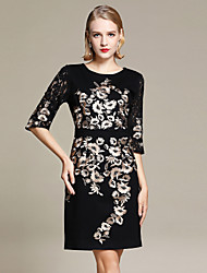 cheap -YHSP Women's Plus Size Street chic / Sophisticated Slim Bodycon / Sheath / Little Black Dress - Floral Lace / Embroidered