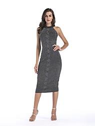 baratos -Mulheres Feriado Básico Algodão Tricô Vestido Sólido Altura dos Joelhos