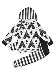 povoljno -Dijete Djevojčice Pamuk Poliester Print Dnevno Proljeće Dugih rukava Komplet odjeće Ležerne prilike Crn