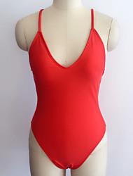 Недорогие -Жен. Закрытый купальник - Открытая спина Классический Сплошной цвет