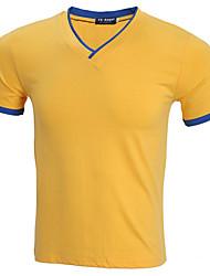 billige -V-hals Tynd Herre - Ensfarvet T-shirt / Kortærmet / Lang