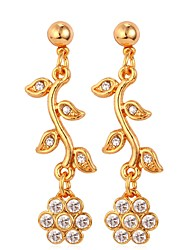 cheap -Women's Floral Flower Rhinestone Gold Plated Drop Earrings - Floral / Simple / Fashion Gold / Silver Earrings For Daily / Date